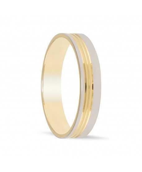 Alianza de oro bicolor 4 mm ancho...