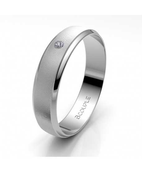Alianza Diamante de Oro Blanco 4,5mm
