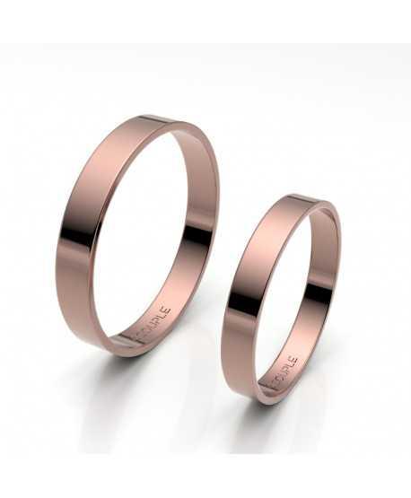 Alianza de oro rosa brillo interior plano de 3 mm