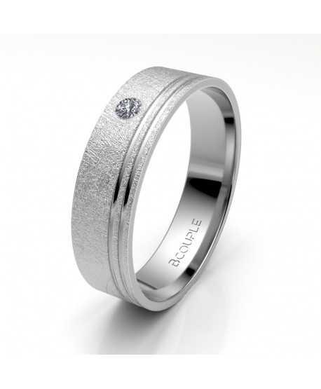 Alianza Diamante de Oro Blanco 5mm