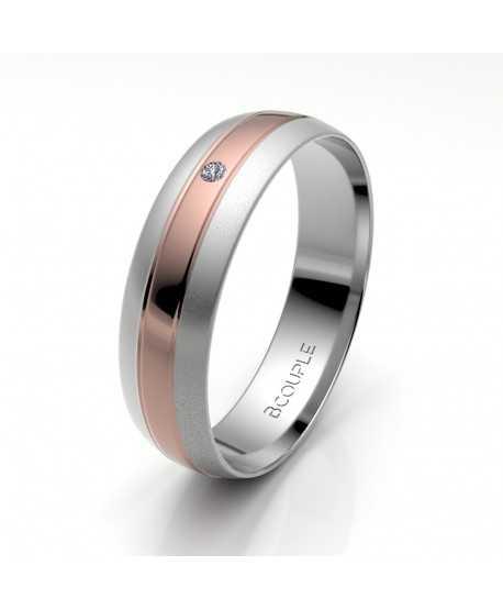 Alianza Diamante de Oro Bicolor 5mm